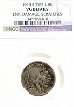 1913-S TY2 Buffalo Nickel VG Details Environmental Coin