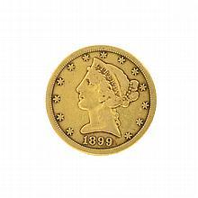 *1899-S $5 U.S. Liberty Head Gold Coin