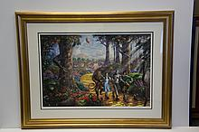 Rare Thomas Kinkade Original Limited Edition Numbered Lithograph Plate Signed Museum Framed The Wizard of Oz - Follow the Yellow Brick Road