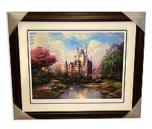 Rare Thomas Kinkade Original Limited Edition Numbered Lithograph Plate Signed Museum Framed ''A New Day at Cinderella's Castle''