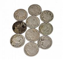 (10) Buffalo Five Cents Coins