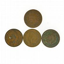4 Misc. Indian Head One Cent Coins