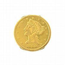 *1880 $5 U.S Liberty Head Gold Coin (DF)