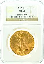 *1924 $20 MS 63 NGC Saint-Gaudens Gold Coin (DF)