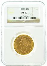 *1889-S $10 MS 62 NGC Liberty Gold Coin (DF)