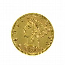 1885 $5 U.S. Liberty Head Gold Coin