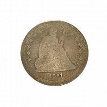 1861 Liberty Seated Quarter Dollar Coin