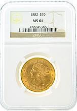 *1882 $10 MS 61 NGC Liberty Gold Coin (DF)