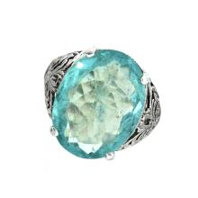APP: 2.4k 5.05CT Oval Cut Aquamarine and Platinum Over Sterling Silver Ring