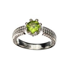 APP: 1.1k Fine Jewelry 1.20CT Round Cut Green Peridot And Platinum Over Sterling Silver Ring