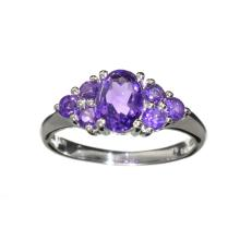 APP: 1.1k Fine Jewelry 4.00CT Mixed Cut Purple Amethyst Quartz And Platinum Over Sterling Silver Ring