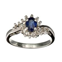 APP: 0.7k Fine Jewelry Designer Sebastian 0.55CT Blue Sapphire And Topaz  Platinum Over Sterling Silver Ring
