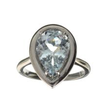 APP: 1.7k Fine Jewelry 2.08CT Pear Cut Beryl Aquamarine And Sterling Silver Ring