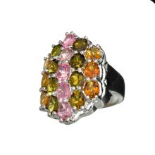 APP: 2k Fine Jewelry 6.36CT Oval Cut Multi-Colored, Multi Precious Gemstone And Platinum Over Sterling Silver Ring