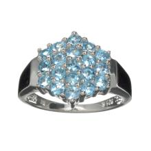 APP: 1k Fine Jewelry 1.50CT Round Cut Light Blue Topaz And Platinum Over Sterling Silver Ring