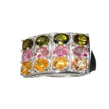APP: 2.4k Fine Jewelry 3.72CT Oval Cut Multi-Colored, Multi Precious Gemstones And Platinum Over Sterling Silver Ring