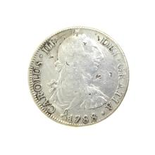 1788 Extremely Rare Eight Reales American First Silver Dollar Coin