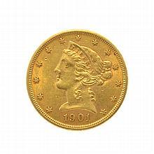 1901 $5 U.S. Liberty Head Gold Coin