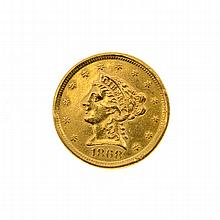 1868 $2.5 US Liberty Head Type Gold Coin