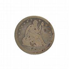 1859 Liberty Seated Quarter Dollar Coin