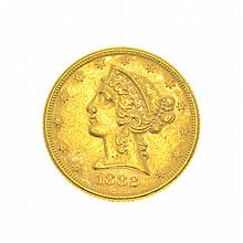 *1882 $5 U.S. Liberty Head Gold Coin (DF)