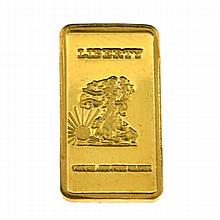 Gold Plated Over .999 Silver Walking Liberty Eagle One Gram Bar