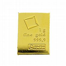 Valcambi Suisse 1g Fine Gold Bar