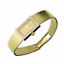 APP: 6.7k Designer: Baume & Mercicer, Exquisite 14 kt. Gold, 0.33CT. Rouund Single Cut Diamond Watch