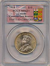*1914 $10 Canada  PCGS MS63+ Canadian Gold Reserve Coin