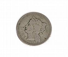 1865 Three-Cent Piece Coin