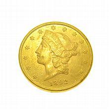 *1892-S $20 U.S. Liberty Head Gold Coin (DF)
