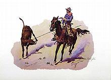 FREDERIC REMINGTON (After) Cowboy Leading Calf Print, 16'' x 12''