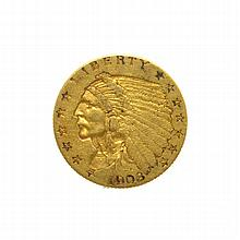 1908 $2.50 U.S. Indian Head Gold Coin