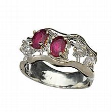 APP: 1.7k 1.00CT Ruby And Colorless Topaz Platinum Over Sterling Silver Ring