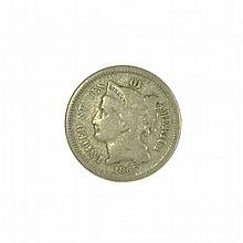 1865 Three Cent Piece Nickel Coin