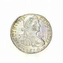 1810 Eight Reales American First Silver Dollar Coin