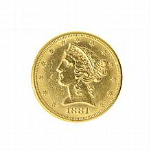 1881 $5 U.S. Liberty Head Gold Coin