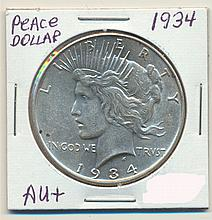 *1934 Peace Dollar AU+ Coin (JG)