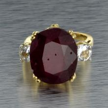 APP: 8.7k 14 kt. Yellow/White Gold, 15.75CT Ruby and Topaz Ring
