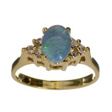 APP: 1k 14 kt. Gold, 0.76CT Opal Triplet And Sapphire Ring