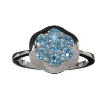APP: 0.7k 1.00CT Round Cut Blue Topaz And Platinum Over Sterling Silver Ring