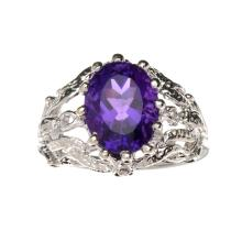 APP: 0.7k Fine Jewelry 2.00CT Oval Cut Amethyst Quartz And Platinum Over Sterling Silver Ring