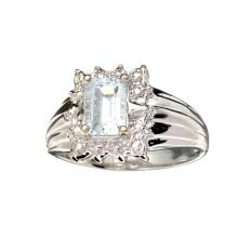APP: 0.8k Fine Jewelry 0.75CT Emerald Cut Aquamarine Beryl And Platinum Over Sterling Silver Ring