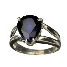 APP: 4.7k Fine Jewelry Designer Sebastian 4.74CT Pear Cut Blue Sapphire and Sterling Silver Ring