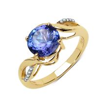 *Fine Jewelry 14 kt. Gold, 2.16CT Round Cut Tanzanite And Diamond Ring (Q R16258TANWD-14KYG)