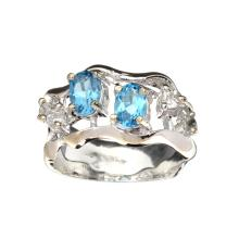 APP: 0.9k Fine Jewelry 0.75CT Blue Topaz And Colorless Topaz Platinum Over Sterling Silver Ring