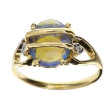 APP: 4.8k 14 kt. Yellow/White Gold, 1.00CT Blue Crystal Opal And Diamond Ring