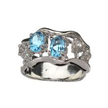 APP: 0.9k Fine Jewelry 0.75CT Blue And Colorless Topaz Platinum Over Sterling Silver Ring