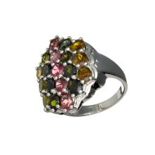 APP: 2.7k 4.50CT Oval Cut Multi-Colored Multi Precious Gemstones And Platinum Over Sterling Silver Ring