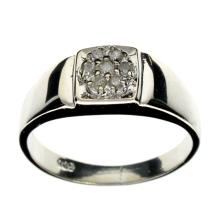 APP: 1.1k 0.20CT Round Cut Diamond and Platinum Over Sterling Silver Ring